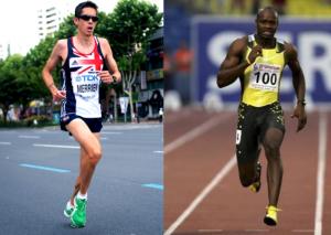 marathonniste et 100 m